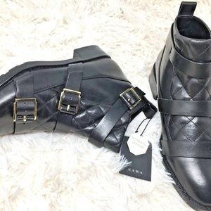 Zara Women's Black Quilted Leather Ankle Boots